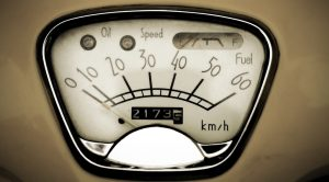 odometer of a vintage car