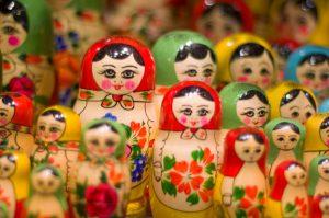 different models and sizes of babushka dolls