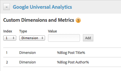 Universal Analytics applying custom dimensions