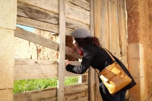Lady looking through broken slats of a fence.