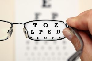 A pair of glasses making letters on eye test chart in focus.